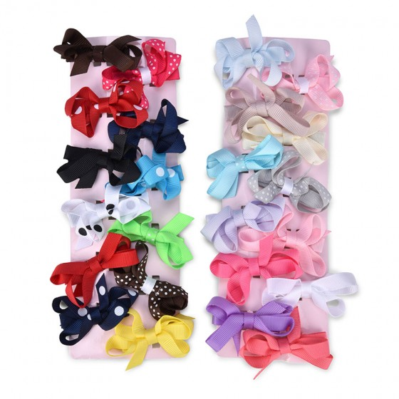 Little Cuties Infant Girls' 24pc Solid & Printed Clips