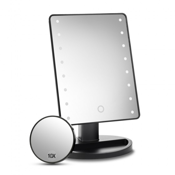 Black 16 Led Dimmable Mirror with Detachable 10x Mirror