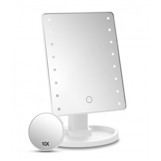 White 16 Led Dimmable Mirror with Detachable 10x Mirror