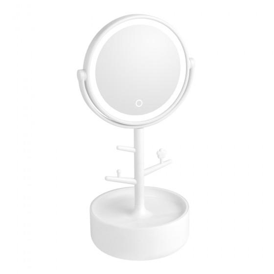 White Led Tree Stem Mirror with Storage Base
