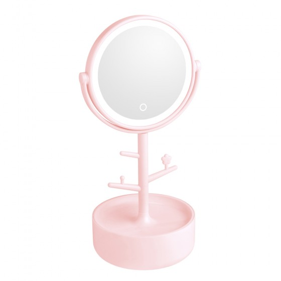 Pink Led Tree Stem Mirror with Storage Base