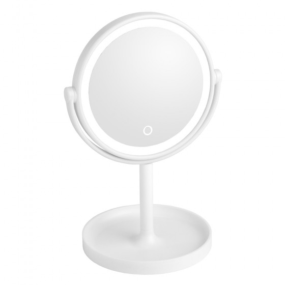 White Led Surround Light Mirror with Stand