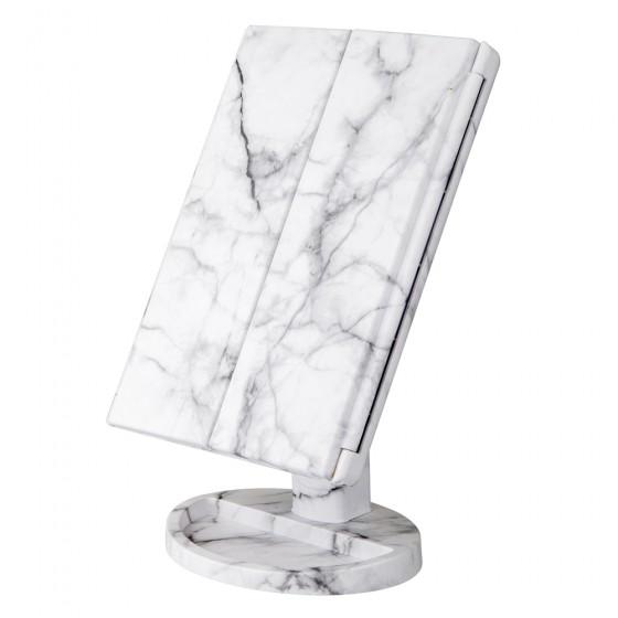 White Marble 21 LED Tri-Fold Vanity Mirror