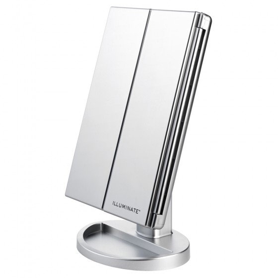 Silver 21 Led Dimmable Tri-Fold Vanity Mirror