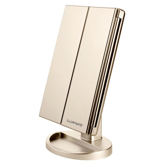 Gold 21 Led Dimmable Tri-Fold Vanity Mirror