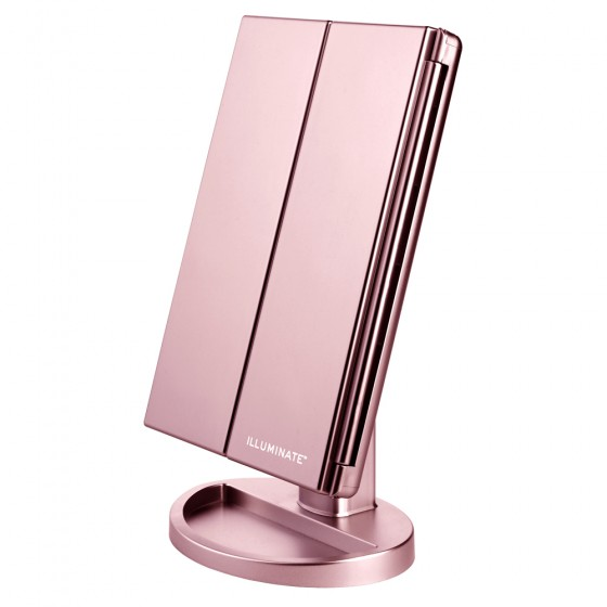 Rose Gold 21 Led Dimmable Tri-Fold Vanity Mirror