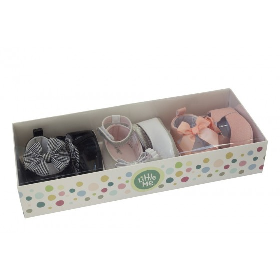 Little Me 3 Pair Girls Dressy Boxed Shoe Set; 6-9 Months