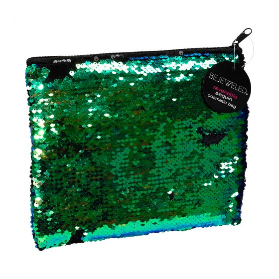 Large Black & Green Sequin Cosmetic Bag