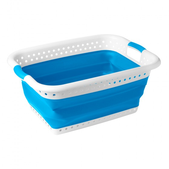 2 Pack White & Blue Collapsible Utility Laundry Basket (x2 shown in photo)