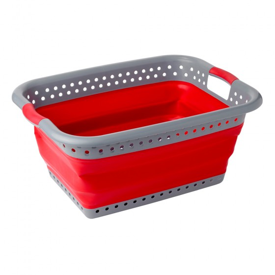 2 Pack Grey & Red Collapsible Utility Laundry Basket (x2 shown in photo)