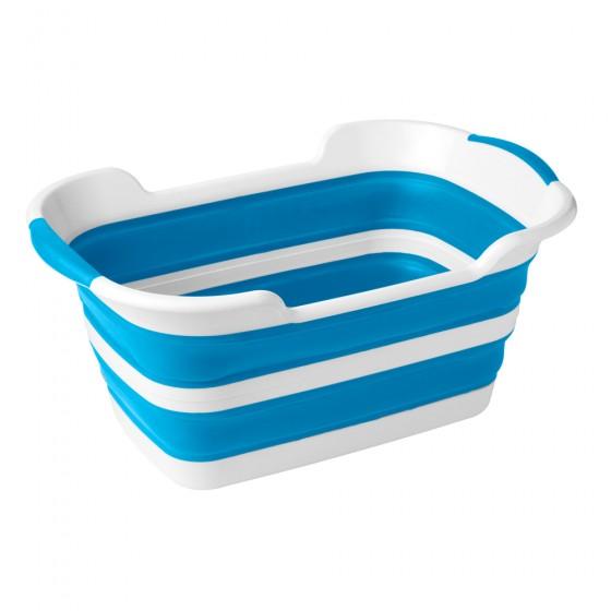 2 Pack White & Blue Collapsible Plastic Laundry Basket - Large Folding Pop Up Laundry Basket