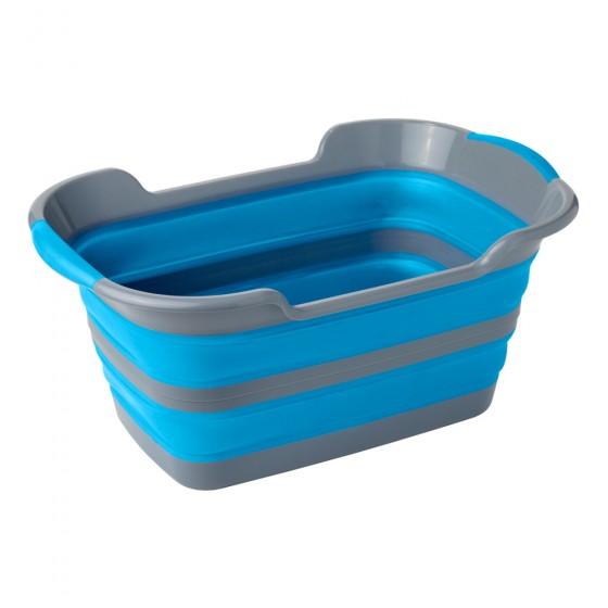 2 Pack Grey & Blue Collapsible Plastic Laundry Basket - Large Folding Pop Up Laundry Basket