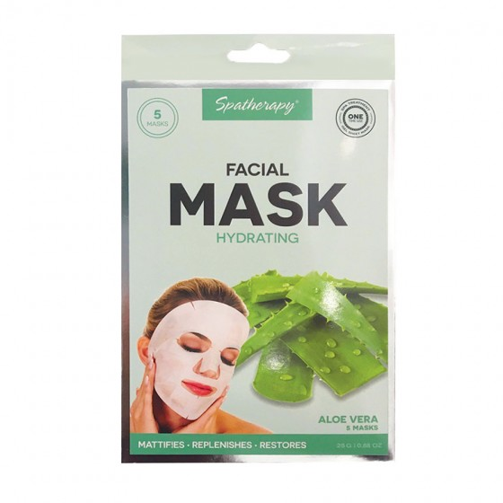 5 Pack Hydrating Facial Mask with Aloe Vera