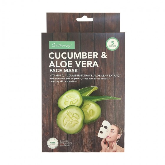 5 Pack Face Mask with Cucumber, Aloe Vera and Vitamin C