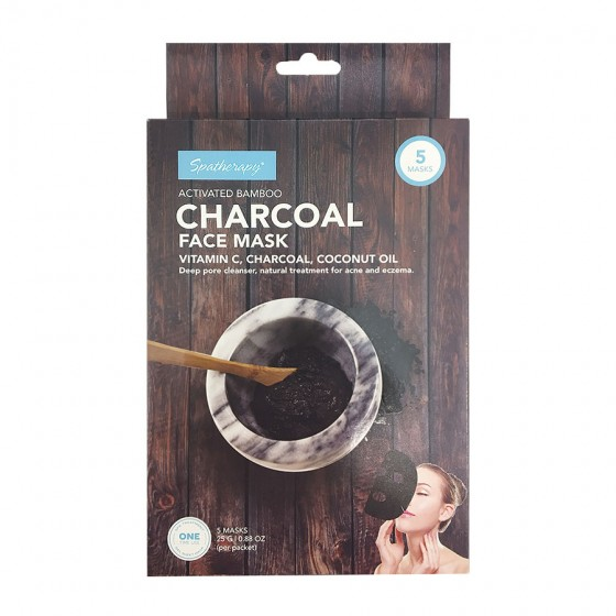 5 Pack Face Mask with Bamboo Charcoal and Vitamin C