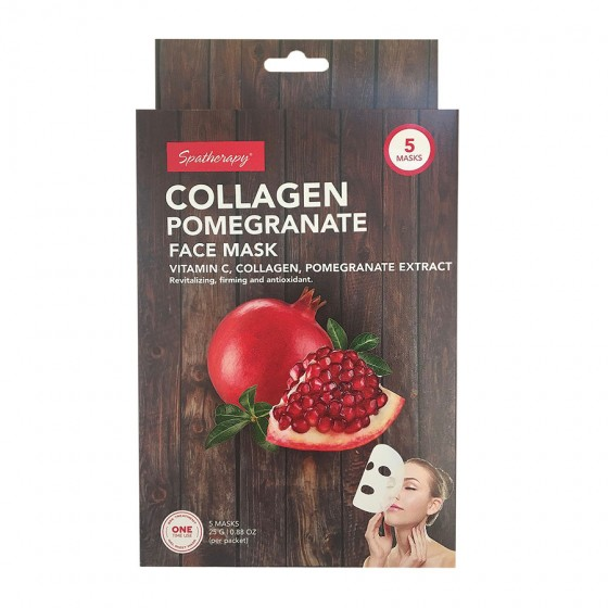 5 Pack Face Mask with Collagen, Pomegranate and Vitamin C