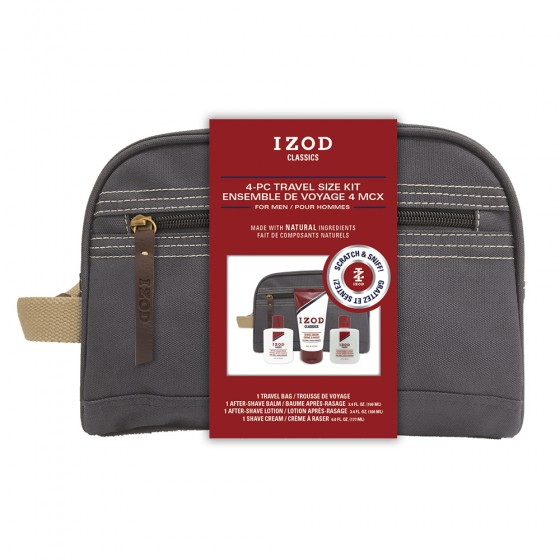 Izod Classics 4-Piece Travel Set in Canvas Dopp Bag with Belly Band