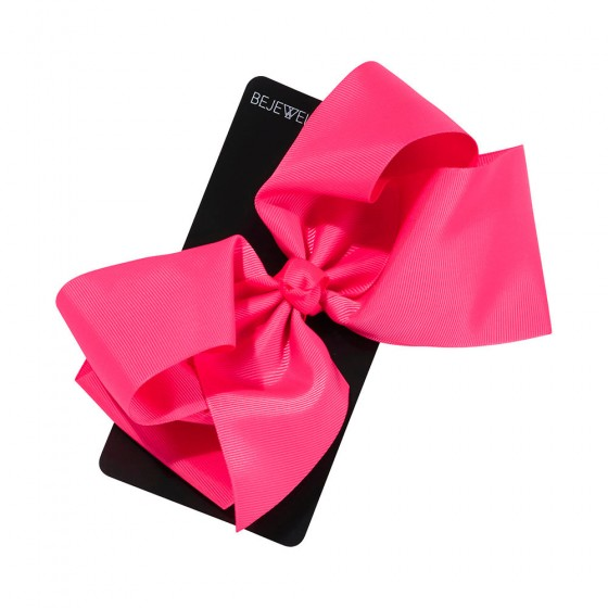 Neon Pink Jumbo Bow on Metal Salon Clip
