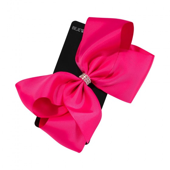 Pink Jumbo Bow with Center Stones Metal Salon Clip