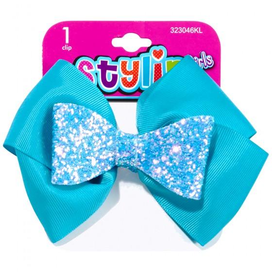 1pc Grosgrain Bow with Snow Glitter Salon Clip
