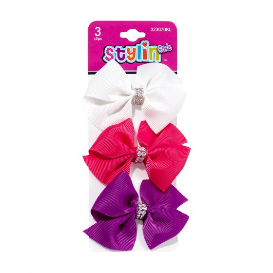 3pc Small Bow Salon Clips with Studs
