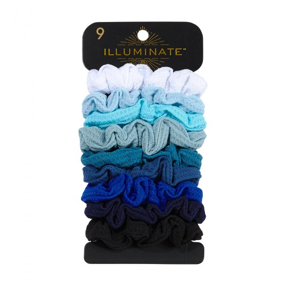 9pc Medium Thermal Fabric Denim Scrunchies