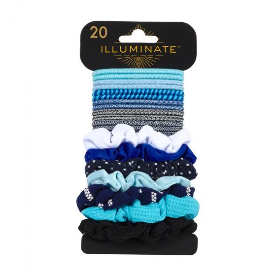 20pc Denim Clasp Free & Scrunchies Set; 13 Heather Elastics/ 7 Scrunchies