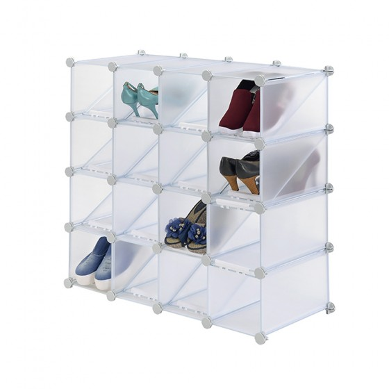 16 Cube Interlocking Shoe Rack Organizer (32 Pairs Shoes)