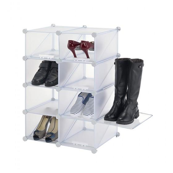 4 Cube Interlocking Shoe Rack Organizer (8 Pairs Shoes)