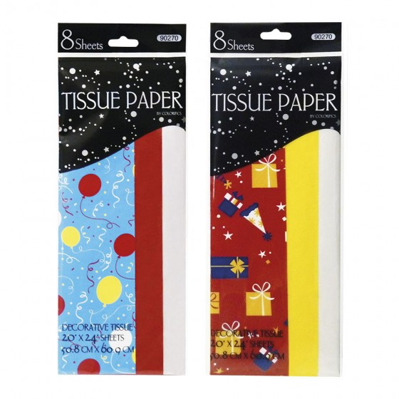 8 CT.  Birthday Print Tissue Paper; 2 Sheets Assorted