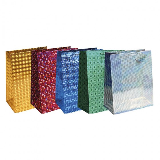Super Jumbo Holographic Gift Bags; 5 Bag Assortment
