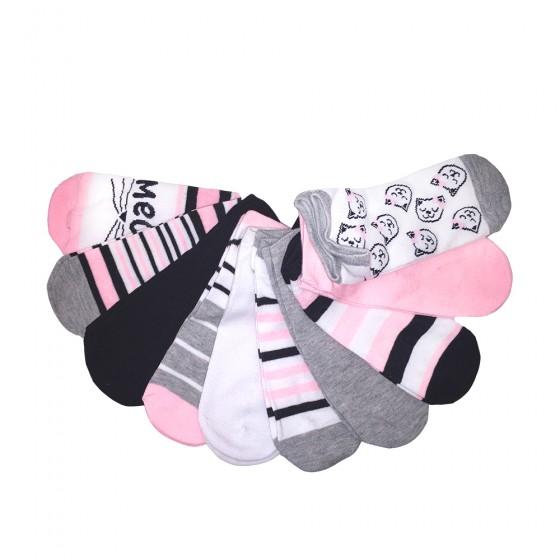 10pk Meow No Show Socks; Ladies Size 9-11
