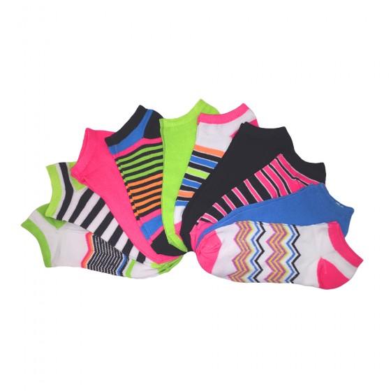 10pk Zig Zag Mania No Show Socks; Ladies Size 9-11