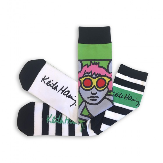 Keith Haring Mens 2pk Sublimated Crew Socks; Size 10-13