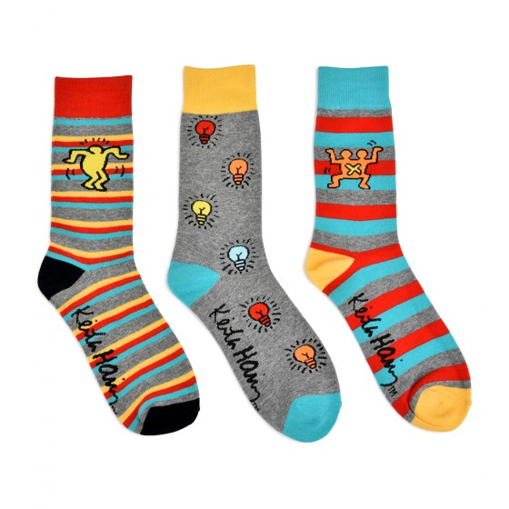 Keith Haring Mens 3pk Crew Socks; Size 10-13