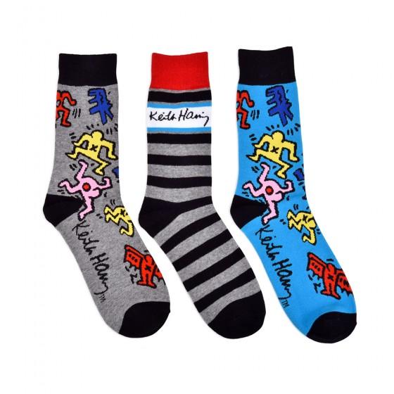 Keith Haring Mens 3pk Crew Socks; Size 10-13