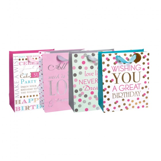 Medium Girly Birthday Party Gift Bags (Hotstamp, Textured Special Paper)- 4 Bag Assortment