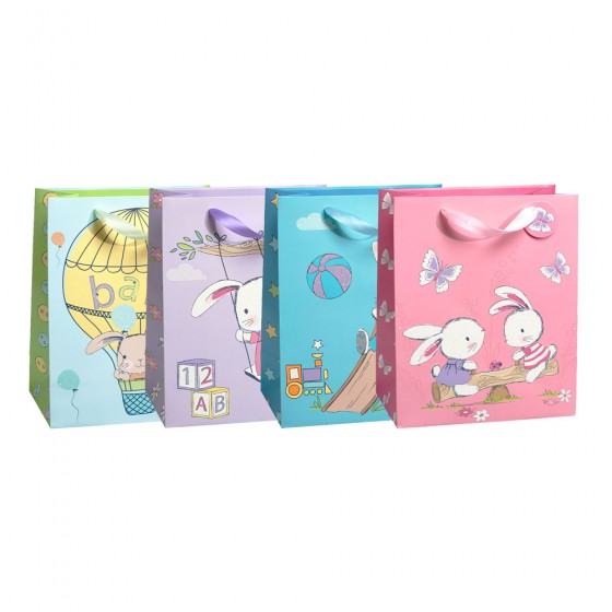 Large Playground Bunnies Gift Bags (Glitter 210GSM); 4 Bag Assortment