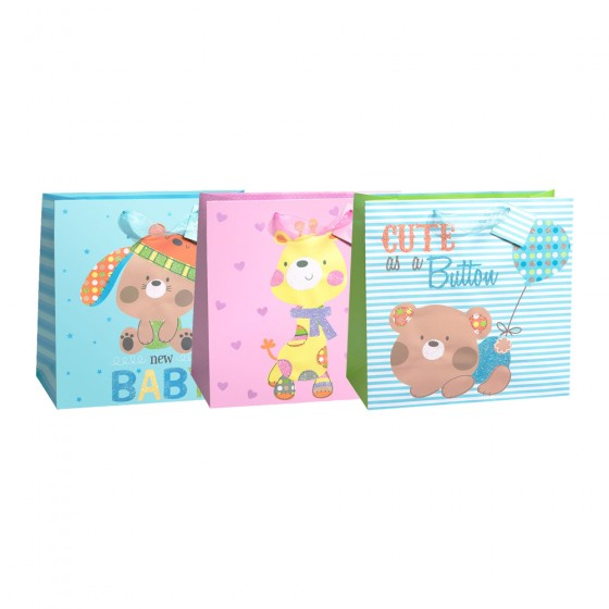 Large Square Silly Adorable Gift Bags (Glitter)- 3 Bag Assortment