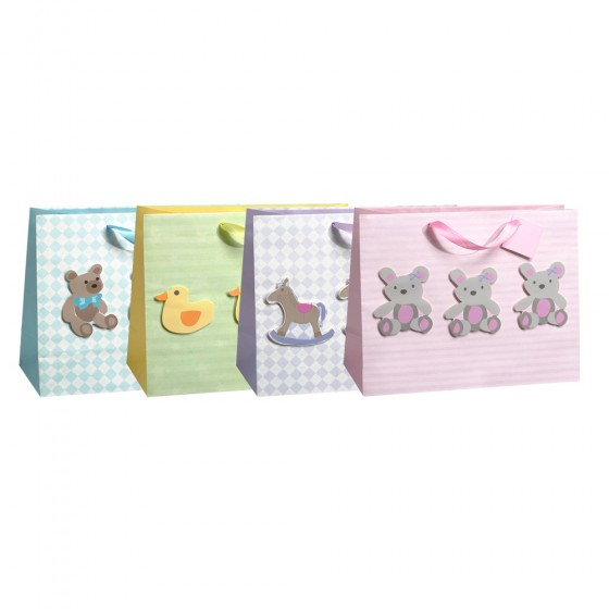 Large Horizontal Three In A Row Gift Bags (Tip On, Special Paper); 4 Bag Assortment