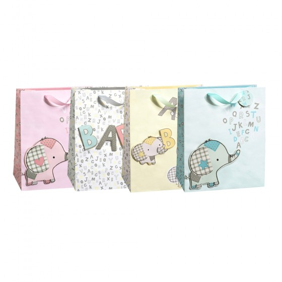 Large ABC Baby Elephants Gift Bags (Tip On)- 4 Bag Assortment