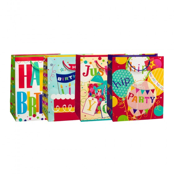 Jumbo Hip Hip Party Gift Bags (Glitter, 210GSM); 4 Bag Assortment