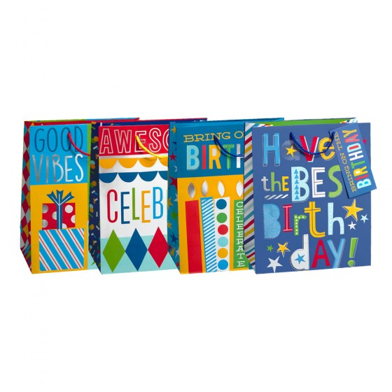 Large Good Vibes Gift Bags (Hot Stamp, 210GSM); 4 Bag Assortment