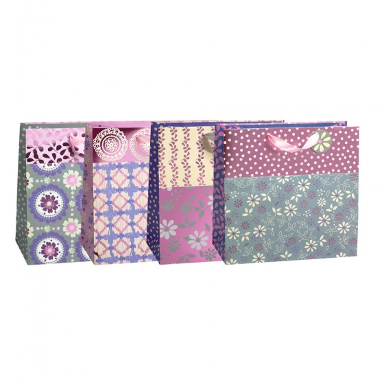 Large Horizontal Pansy Picnic Gift Bags (Hot Stamp); 4 Bags Assortment