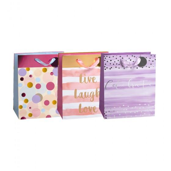 Medium Live Laugh Love Gift Bags (Hotstamp)- 3 Bags Assortment