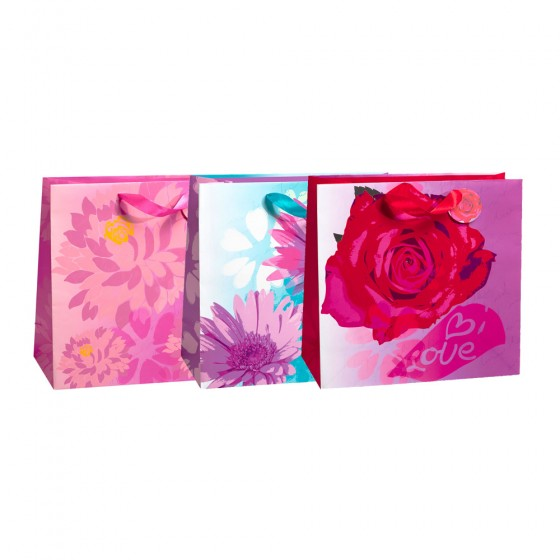 Large Horizontal Floral Romance Gift Bags (Spot UV); 3 Bag Assortment