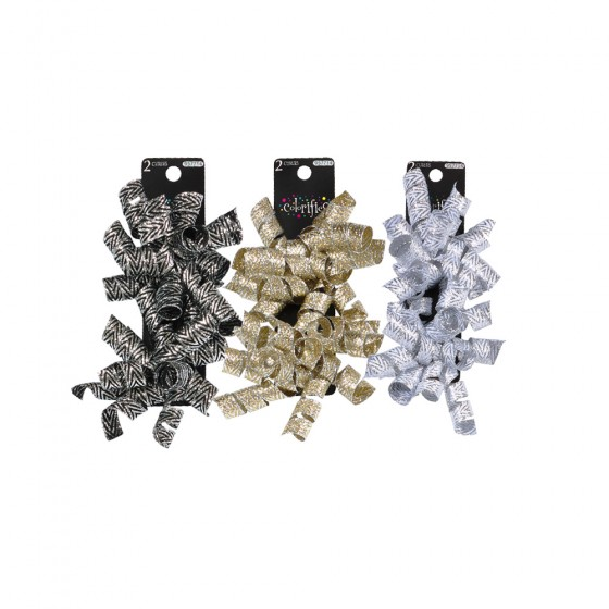 2pc Embossed Metallic Curly Swirl Bow; 3 Bows Assorted