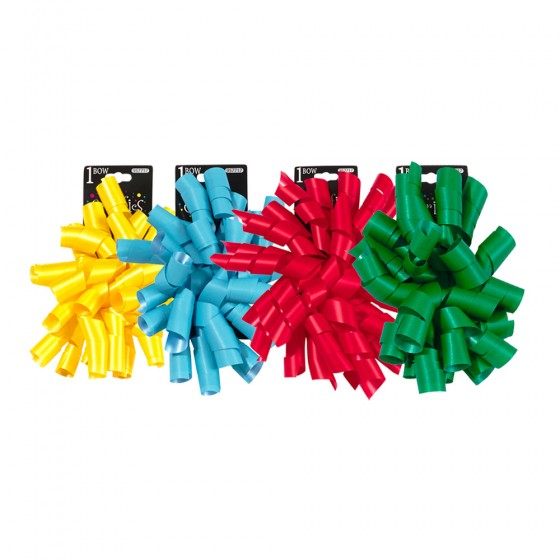 1pc Matte Finish Spiral Curly Swirl Bow; 4 Bows Assorted