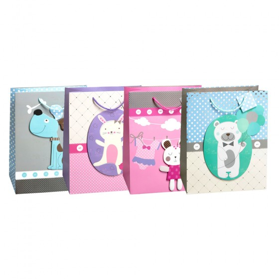 Large Precious Little One Gift Bags (Tip On, Hotstamp, 210GSM)- 4 Bag Assortment