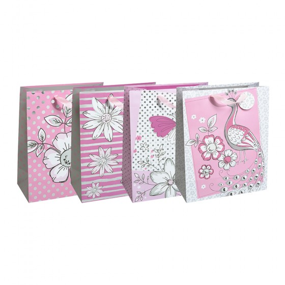 Large Pink Garden Gift Bags (Silver Hot Stamp); 4 Bag Assortment